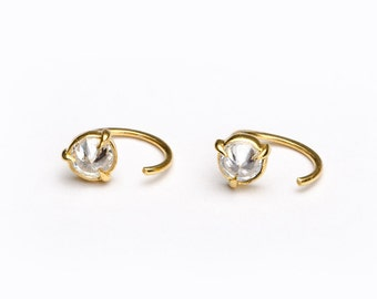 Round White Zirconia Hug Hoops, Sterling Silver Gold Plated, Hug Hoop Earrings, Open Hoops, Minimalist Jewelry Gift, Lunai, Gift, EAR031WCZ