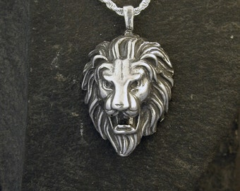 Sterling Silver Lion Head Pendant on a Sterling Silver Chain