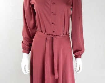 Original Vintage 1970s Pink Lace Neck Victoriana Dress UK Size 10