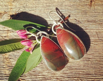 Cherry Creek Jasper earrings in sterling silver, tropical earrings, Hibiscus earrings, kauai earrings