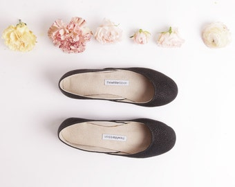 Black Textured Leather Ballet Flats | Classic Ballerina Flats | Pointe Style Shoes | Jade...Ready to Ship