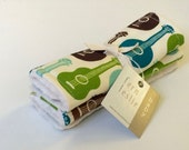 Baby Car Seat Strap Covers - Guitar - Reverses to Ivory Minky - Organic Cotton in Brown, Green, Teal,Aqua, Cream