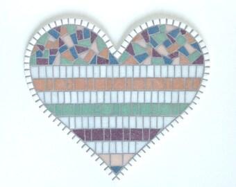 Pastel mosaic heart, Heart Art, mosaic wall decor