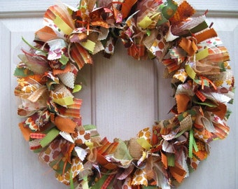 Fall Wreath, Fall Decor, Autumn Wreath, Thanksgiving Decor, Ribbon Wreath, Fabric Wreath, Front Door Wreaths, Brown Rust Gold Rag Wreath