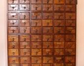 Dewey Decimal....Antique Library Card Catalog File 72 Drawers, Library File, Card Catalogue, Card File