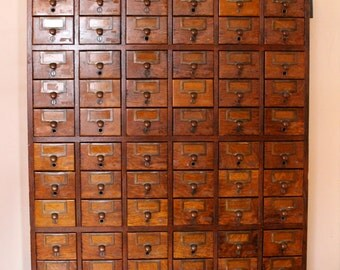 Dewey Decimal....Antique Library Card Catalog File 72 Drawers, Library File, Card Catalogue, Card File
