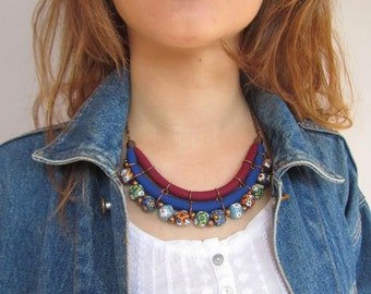 Ethnic necklace/ tribal bib necklace/ recycle glass beads/ Eco friendly necklace