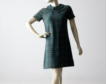 vintage 60s wool shift dress, plaid mini dress with peter pan collar