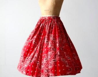 vintage bandana print skirt, 50s circle skirt