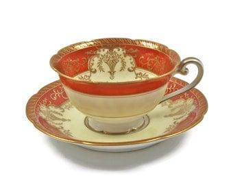 Noritake Teacup - Orange with Gold Trim Teacup, Japanese Tea Cup, Ornate Teacup, Collectible Teacup, Antique Teacup, c1930s