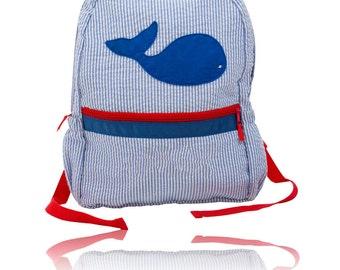 Personalized Seersucker Backpack - Toddler - Nautical Preschool Backpack Bookbag - Boys