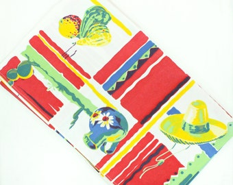 Vintage Tablecloth - Southwestern Checkerboard - Wilendur Mexican w Blue, Red, Green, Jadite - Pottery, Corn, Sombrero, Cactus, Gourds