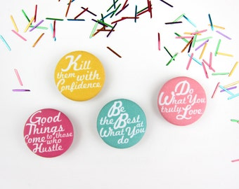 Boss Lady: Set of 4 Fabric Magnets