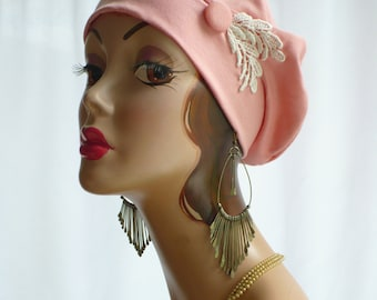 Peach Cotton Jersey Beret, Chemo Hat
