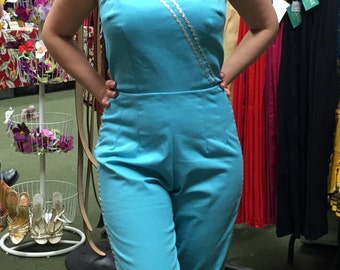 Vintage 1950s inspired turquoise and silver lurex braid jumpsuit XS to L Viva