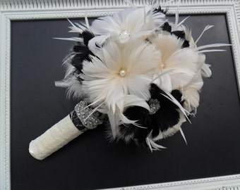 Feather Wedding Bouquet,Bridal Bouquet,Gatsby Wedding,Brooch Bouquet,Black & White Bouquet,Vintage Style Wedding Bouquet,Alternative Bouquet