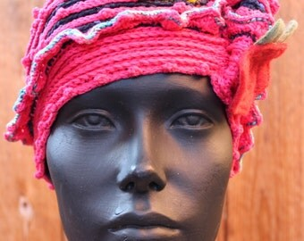Reds Galore... Perfect Autumn Crochet Hat with a Felted Apple Pin...