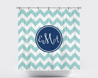 Shower Curtain Personalized Monogrammed Chunky Chevron Pick Your Colors