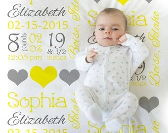 Birth Stats Gift - Yellow and gray baby stats blanket, personalized blanket, girl baby blanket, baby shower gift  baby name blanket