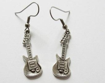 Guitar Earrings Small Silver Tone Electric Guitar Charm Earrings