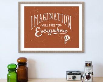 Imagination Hot Air Balloon Inspirational Quote Print, Nursery Art, Kids Wall Art, Balloon Nursery, Kids Room Decor, Motivational Quote
