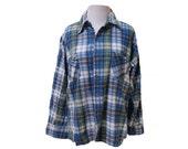 80's Flannel Shirt Soft grunge Vintage Flannel Size Large Blue Green Grunge Distressed Flannel