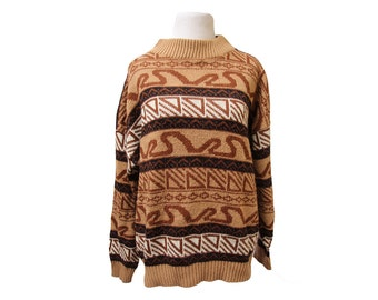 Women's 80's Mock Turtle Neck Sweater Abstract Pullover Size Medium