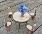 Fairy Garden Table Set, Waldoft Style Wooden Table and Chair Miniatures, Dollhouse Dining Set