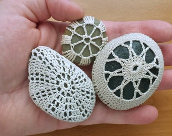 Crochet Lace Stones, Set of 3 Crocheted River Stones, Doily Covered Polished Rocks