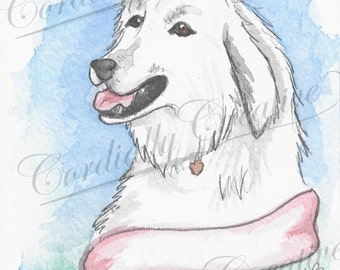 Great Pyrenees Illustration print, dog portrait illustrated with watercolors, can be customized with pet name, personalized, big white dog