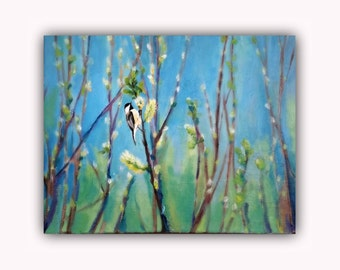 Bird and the Cat-Tails, Original Oil Painting, chickadee, signed by the artist