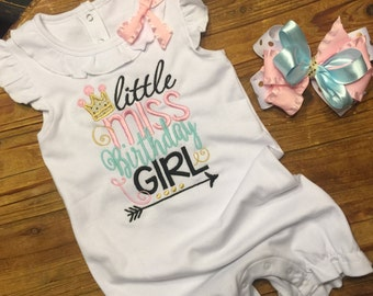 1st Birthday Girl Outfit - Little Miss Birthday Girl - Birthday Ruffle Romper - 1st Birthday Outfit - 2nd Birthday Outfit - Girls Birthday