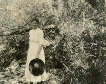"Vintage Photo ""Creek Getaway"" Girl Hat Snapshot Photo Antique Photo Black & White Photograph Found Photo Paper Ephemera Vernacular - 118"
