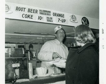 "Vintage Photo ""Serving Soda and Soup"" Food Diner Snapshot Antique Photo Old Black & White Photograph Found Paper Ephemera Vernacular - 162"
