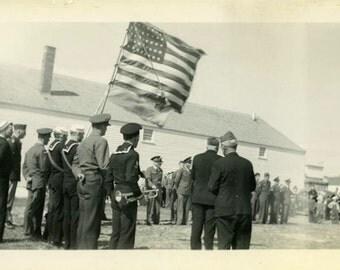 "Vintage Photo ""Honoring Service"" Flag Snapshot Photo Old Antique Photo Black & White Photograph Found Photo Paper Ephemera Vernacular - 196"