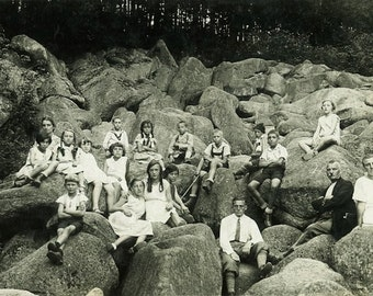 """Vintage Real Photo Postcard """"Young Hikers"""" Children Hiking Antique RPPC Photo Black & White Photograph Old Paper Ephemera Vernacular - 28"""
