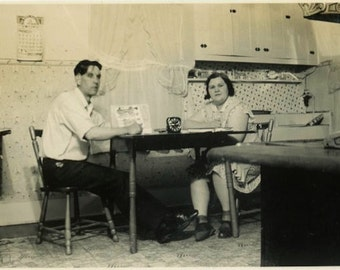 "Vintage Photo ""Late Night Kitchen Chatter"" Couple Snapshot Old Antique Photo Black & White Photograph Found Paper Ephemera Vernacular - 199"