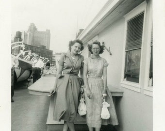 "Vintage Photo ""Linda and Louise Take on the City"" Snapshot Antique Photo Black & White Photograph Found Paper Ephemera Vernacular - 187"