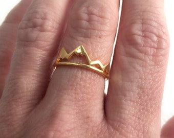 Gold Mountain Ring, adjustable band travel delicate mountains range hiking biking climbing outdoor birthday gift for girlfriend wife