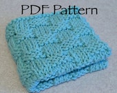 Basket Weave Knitted Dishcloth Pattern in PDF format