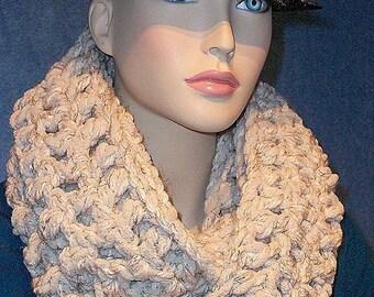 Oatmeal Infinity Scarf, Crochet Infinity Scarf, Chunky Infinity Scarf, Oatmeal Crochet Infinity Scarf,Plush Infinity Scarf, Handmade Scarf