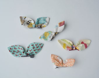 Ready to Ship Hair Bow Lot of 5 - Bunny ears Modern fabric all seasons Girl accessories back to school toddler