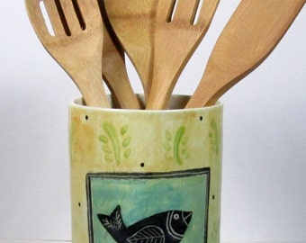 Utensil holder Vase one of a kind Ready to ship