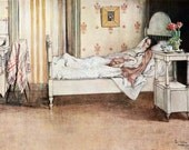 Get Well Card - Woman in Bed Resting - Carl Larsson Repro - Vintage Style