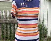 """SOLD ALTERED COUTURE Featured Upcycled 'Let it Grow"""" handmade stripe shirt, short sleeve, hand embroidered, vintage buttons, eco, recycled,"""