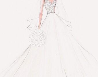 Custom fashion illustration - Custom bridal sketch - wedding gift - anniversary gift - bridal illustration - bride - custom bride - FRONTAL