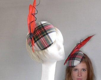 Dutch design tartan percher hat with ton sur ton  feathers and crest on comb