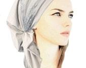 Light Gray Cotton Head Scarf Pre tied Bandana Hair Snoods Tichel Chemo Head Scarf: Boho Chic soft wide fancy floral lace ShariRose - 341/371