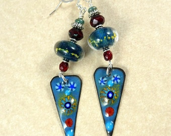 Artisan Denim Blue and Burgundy Enamel Charm and Lampwork Earrings - Enameled Copper Charm Earrings - Artisan Charm Earrings