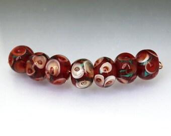 Lampwork glass bead set Dark Red bead set Round Red Floral lampwork bead set Burgundy bead set Red floral bead set  Anne Londez  SRA OOAK
